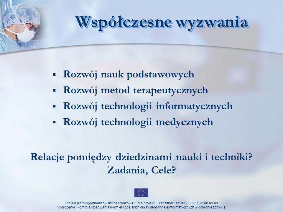 Projekt jest współfinansowany ze środków UE dla projektu Transition Facility 2006/018-180.01.01 Wdrożenie i kontrola stosowania norm europejskich dla systemów teleinformatycznych w ochronie zdrowia Systemy (rozwiązania) wykorzystujące narzędzia informatyczne platformy tematyczne w opiece zdrowotnej (np.