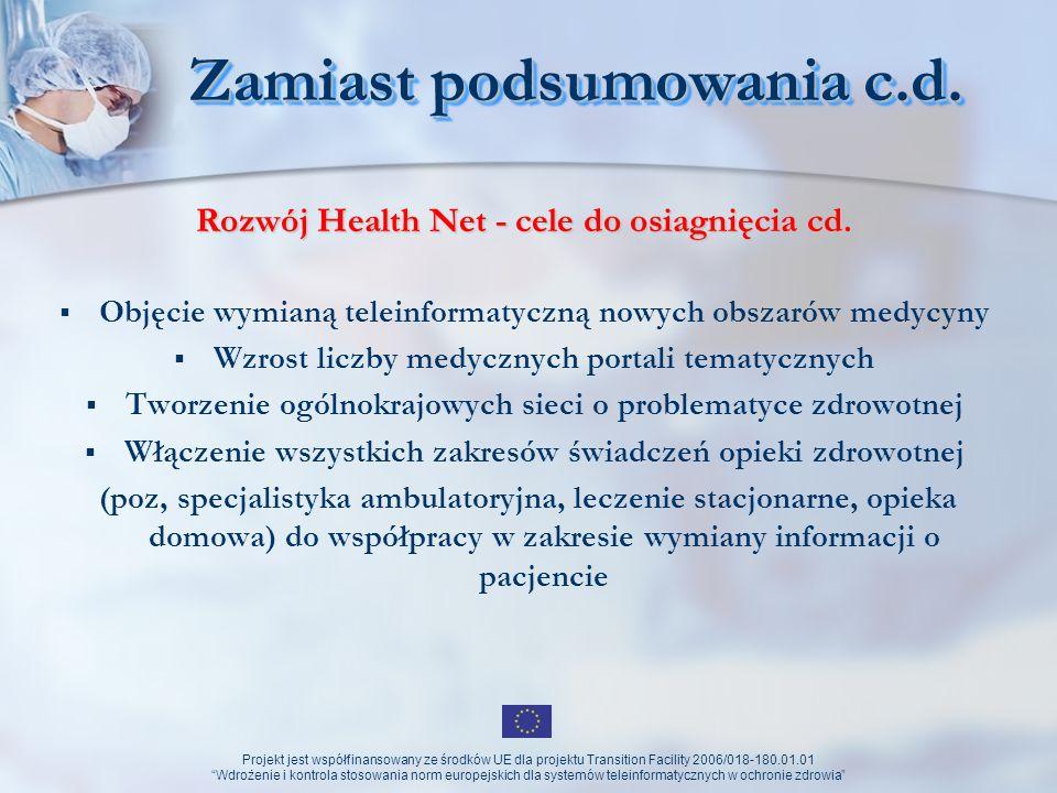 Projekt jest współfinansowany ze środków UE dla projektu Transition Facility 2006/018-180.01.01 Wdrożenie i kontrola stosowania norm europejskich dla systemów teleinformatycznych w ochronie zdrowia Dziękuję za uwagę !!!