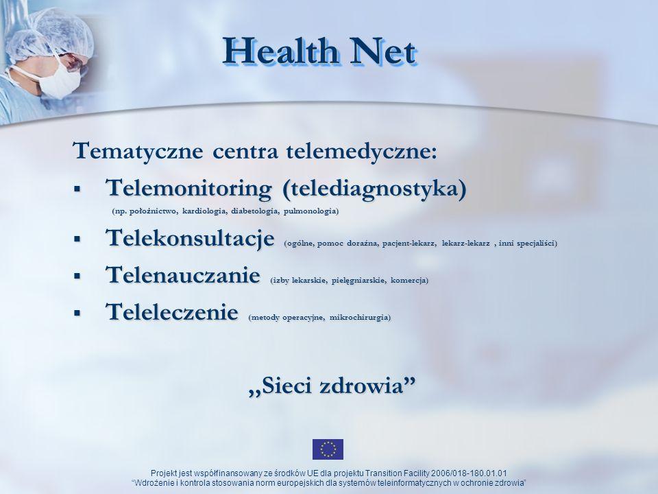 Projekt jest współfinansowany ze środków UE dla projektu Transition Facility 2006/018-180.01.01 Wdrożenie i kontrola stosowania norm europejskich dla systemów teleinformatycznych w ochronie zdrowia Sieć sieci Sieć Centrów Telemedycznych np.