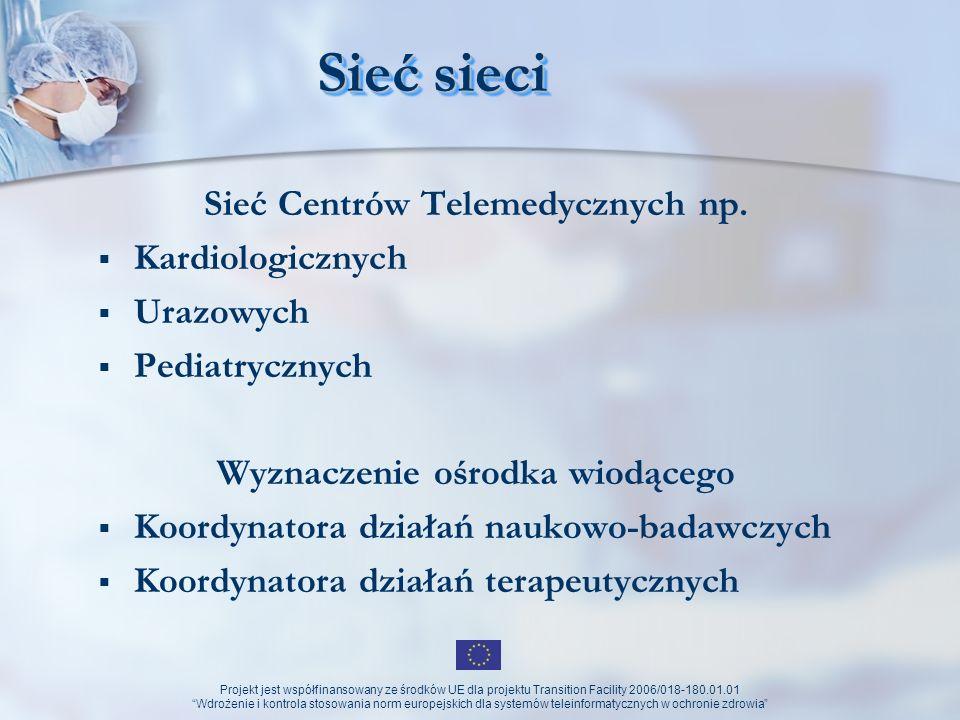 Projekt jest współfinansowany ze środków UE dla projektu Transition Facility 2006/018-180.01.01 Wdrożenie i kontrola stosowania norm europejskich dla systemów teleinformatycznych w ochronie zdrowia Oczekiwany efekt Wzrost aktywności naukowej Wzrost skuteczności terapeutycznej Dostępność do baz danych Analizy ilościowe i jakościowe prowadzonych terapii Lepsza dostępność do raportowania zdarzeń wysokospecjalistycznych