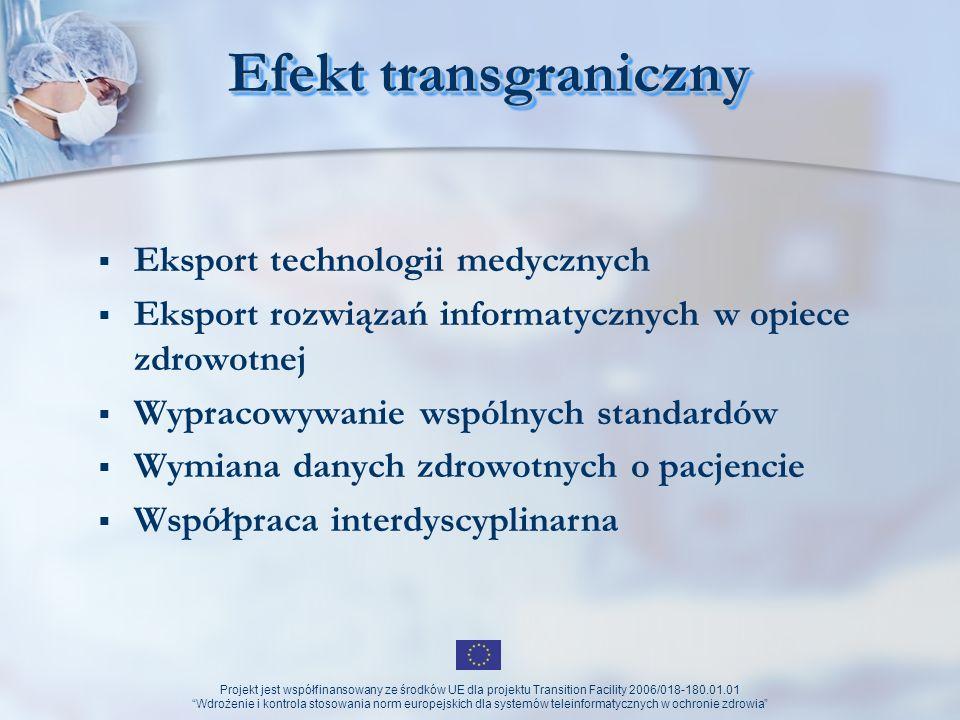 Projekt jest współfinansowany ze środków UE dla projektu Transition Facility 2006/018-180.01.01 Wdrożenie i kontrola stosowania norm europejskich dla systemów teleinformatycznych w ochronie zdrowia Informacje medyczne (w sieci sieci) Ogólnodostępne informacje z zakresu: Podstawowej wiedzy o chorobach (rozpoznaniu, leczeniu) Podstawowej wiedzy o profilaktyce zdrowotnej Podstawowej wiedzy o metodach terapeutycznych