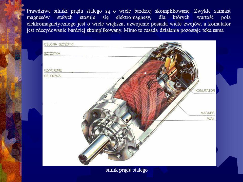 Prawdziwe silniki prądu stałego są o wiele bardziej skomplikowane. Zwykle zamiast magnesów stałych stosuje się elektromagnesy, dla których wartość pol