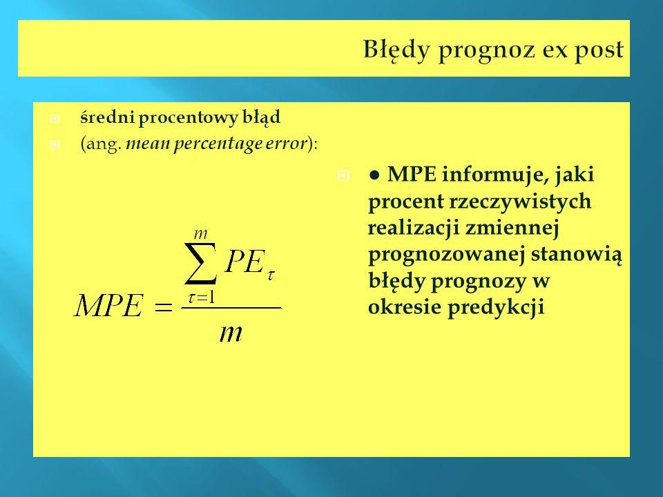 Błędy prognoz ex post średni procentowy błąd (ang. mean percentage error ): MPE informuje, jaki procent rzeczywistych realizacji zmiennej prognozowane