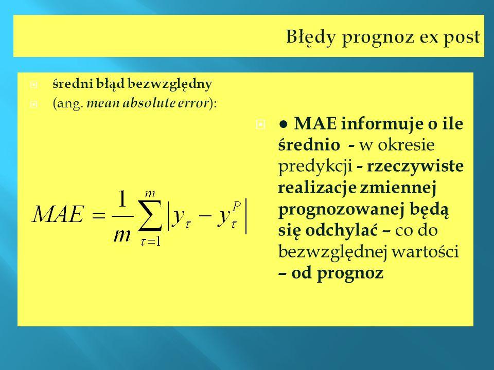 Błędy prognoz ex post średni błąd bezwzględny (ang. mean absolute error ): MAE informuje o ile średnio - w okresie predykcji - rzeczywiste realizacje