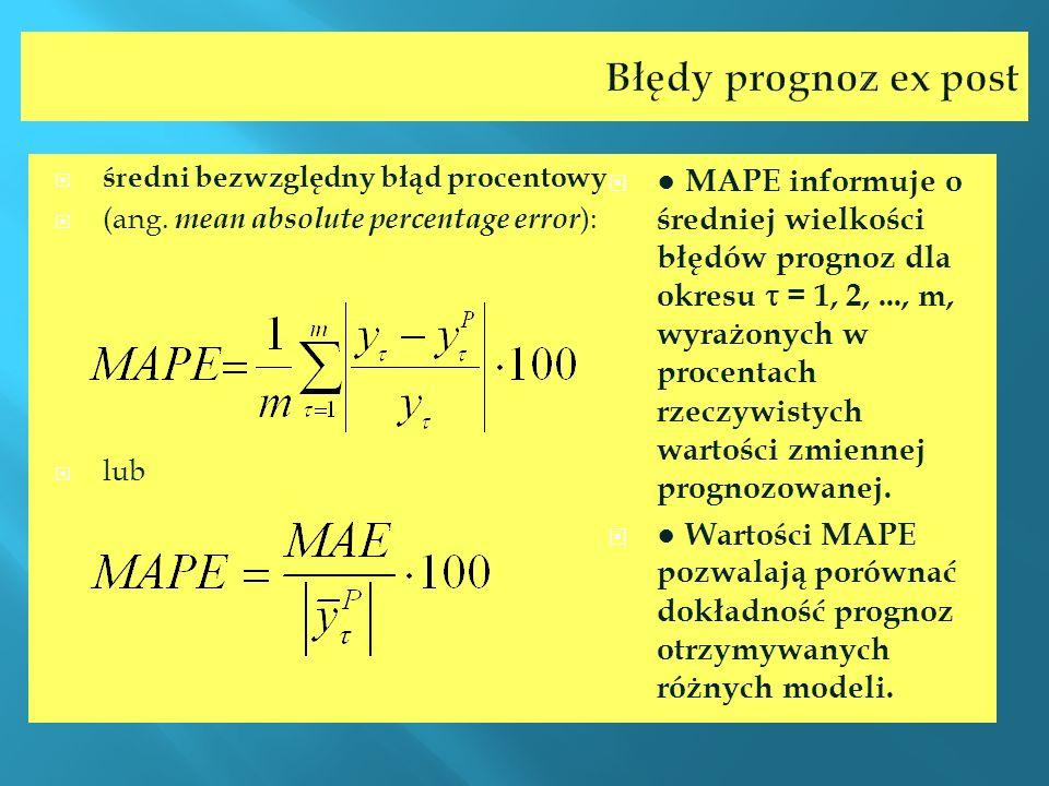 Błędy prognoz ex post średni bezwzględny błąd procentowy (ang. mean absolute percentage error ): lub MAPE informuje o średniej wielkości błędów progno