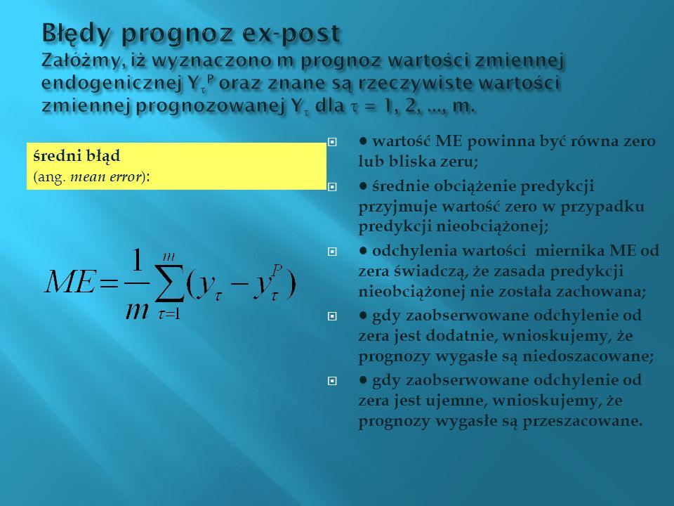 wartość ME powinna być równa zero lub bliska zeru; średnie obciążenie predykcji przyjmuje wartość zero w przypadku predykcji nieobciążonej; odchylenia