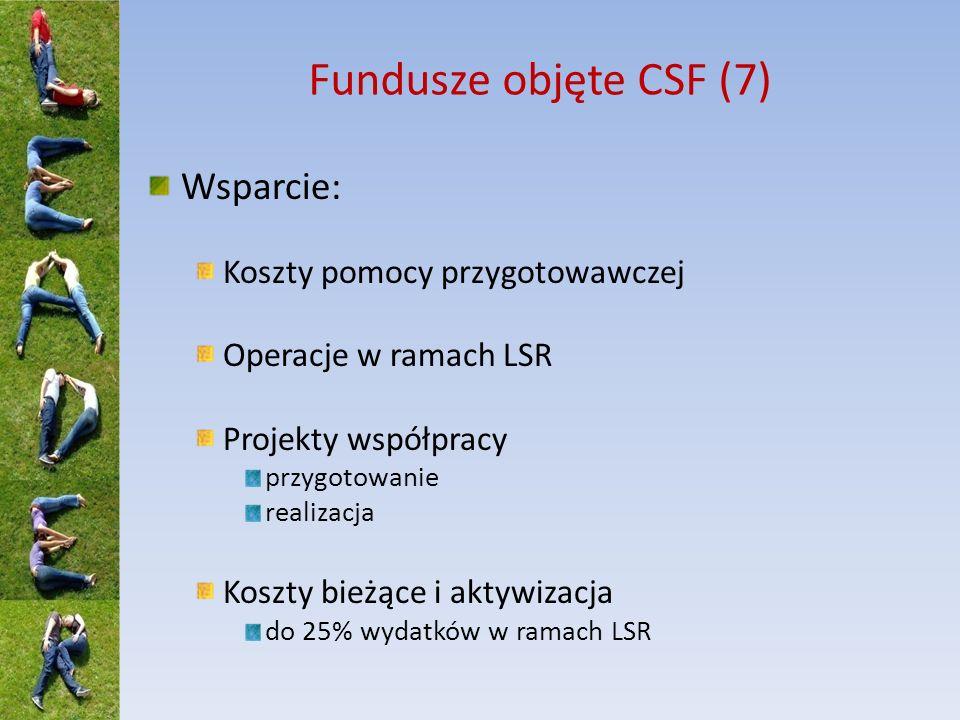 Fundusze objęte CSF (7) Wsparcie: Koszty pomocy przygotowawczej Operacje w ramach LSR Projekty współpracy przygotowanie realizacja Koszty bieżące i ak