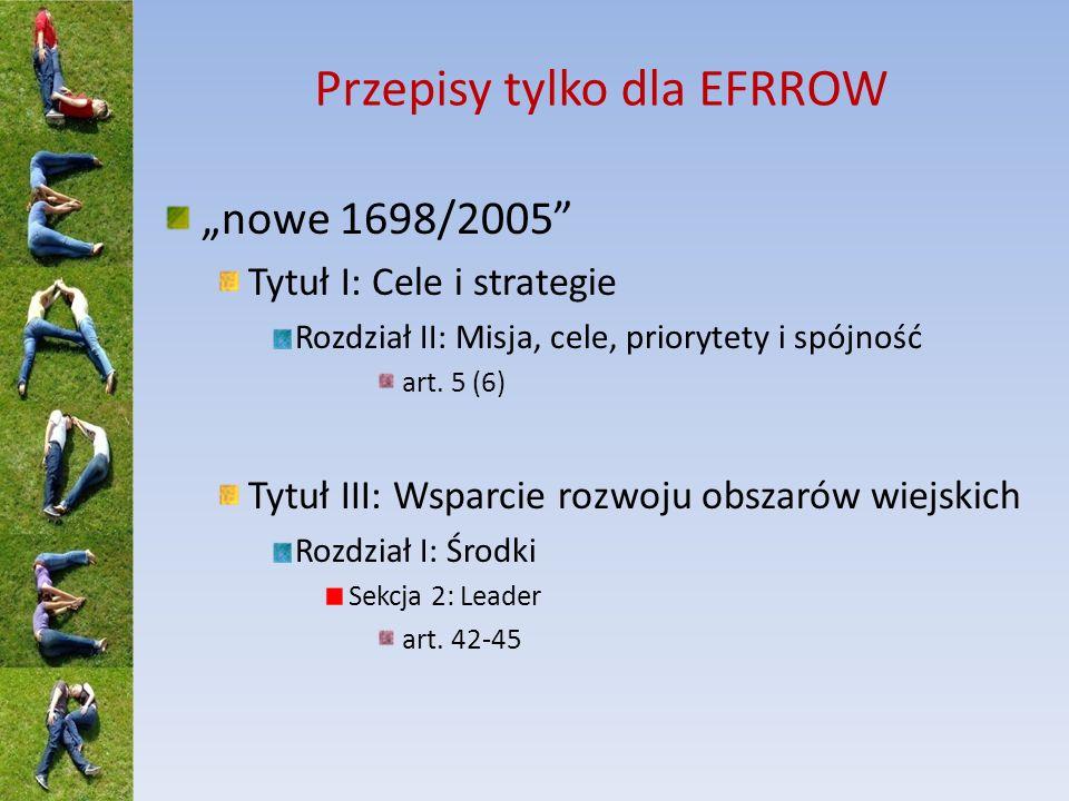 Przepisy tylko dla EFRROW nowe 1698/2005 Tytuł I: Cele i strategie Rozdział II: Misja, cele, priorytety i spójność art. 5 (6) Tytuł III: Wsparcie rozw