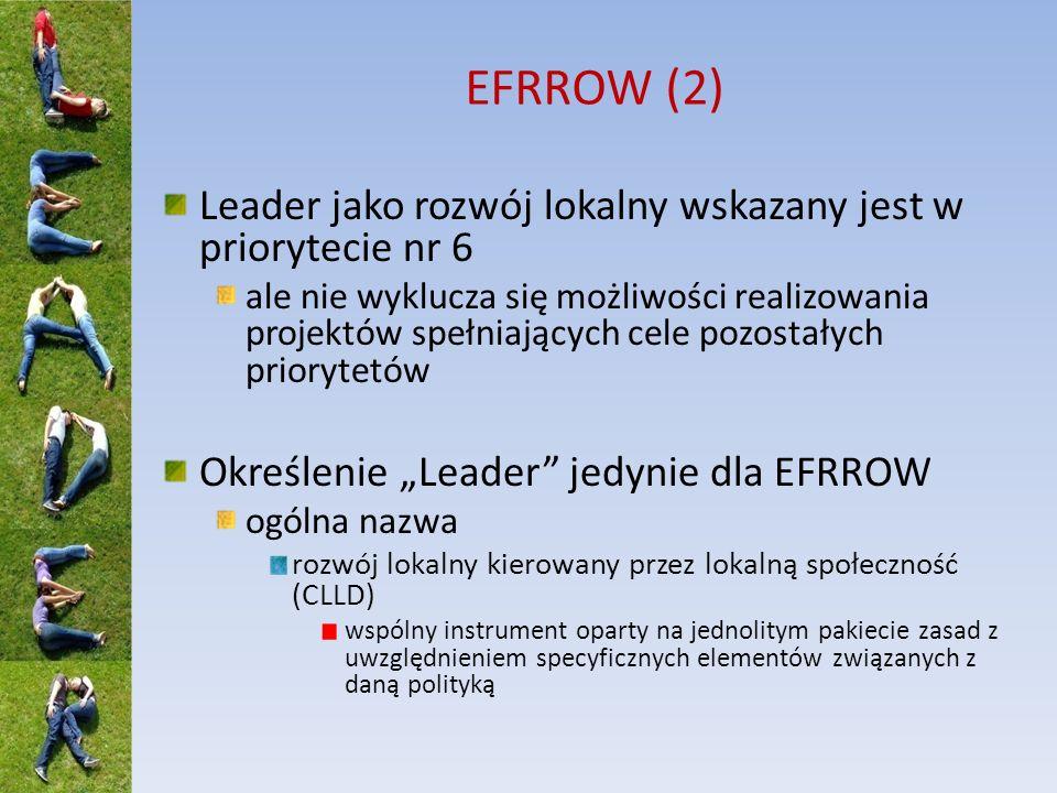 EFRROW (2) Leader jako rozwój lokalny wskazany jest w priorytecie nr 6 ale nie wyklucza się możliwości realizowania projektów spełniających cele pozos