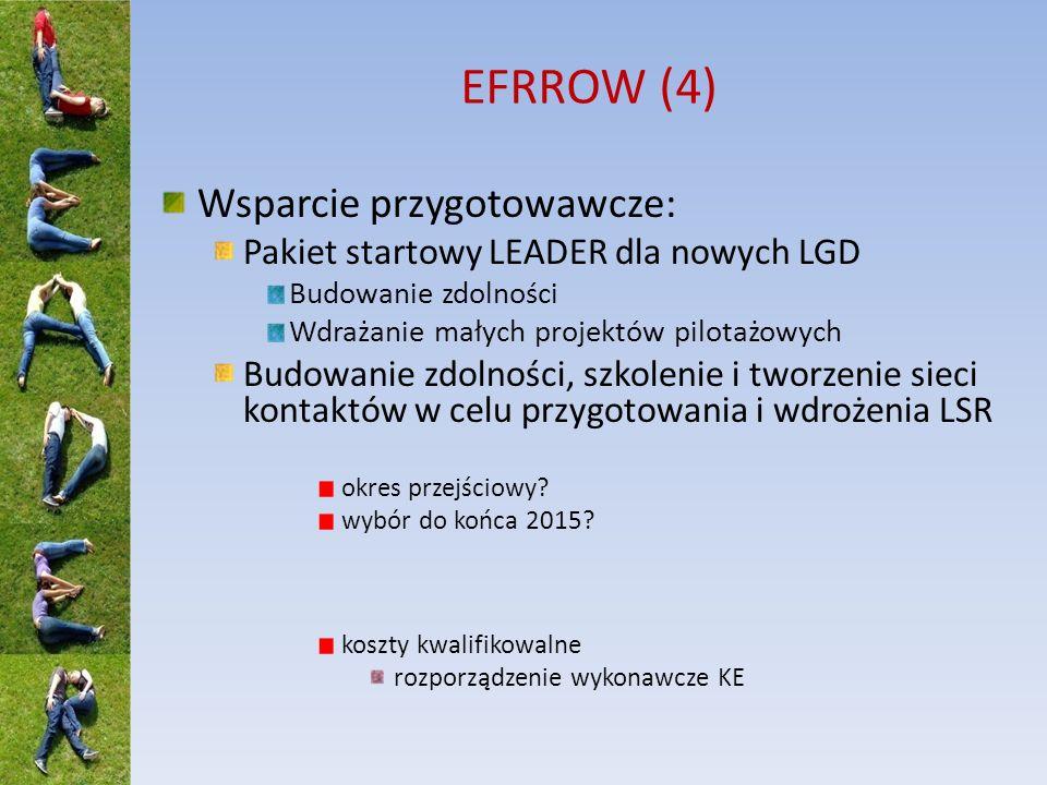 EFRROW (4) Wsparcie przygotowawcze: Pakiet startowy LEADER dla nowych LGD Budowanie zdolności Wdrażanie małych projektów pilotażowych Budowanie zdolno