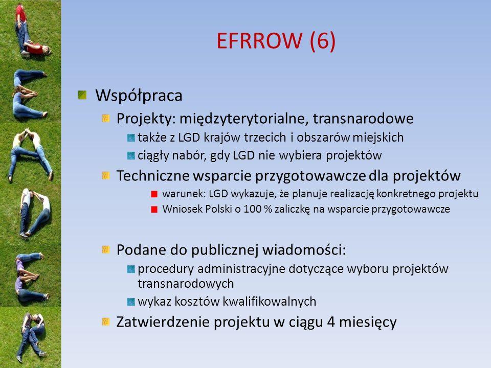 EFRROW (6) Współpraca Projekty: międzyterytorialne, transnarodowe także z LGD krajów trzecich i obszarów miejskich ciągły nabór, gdy LGD nie wybiera p