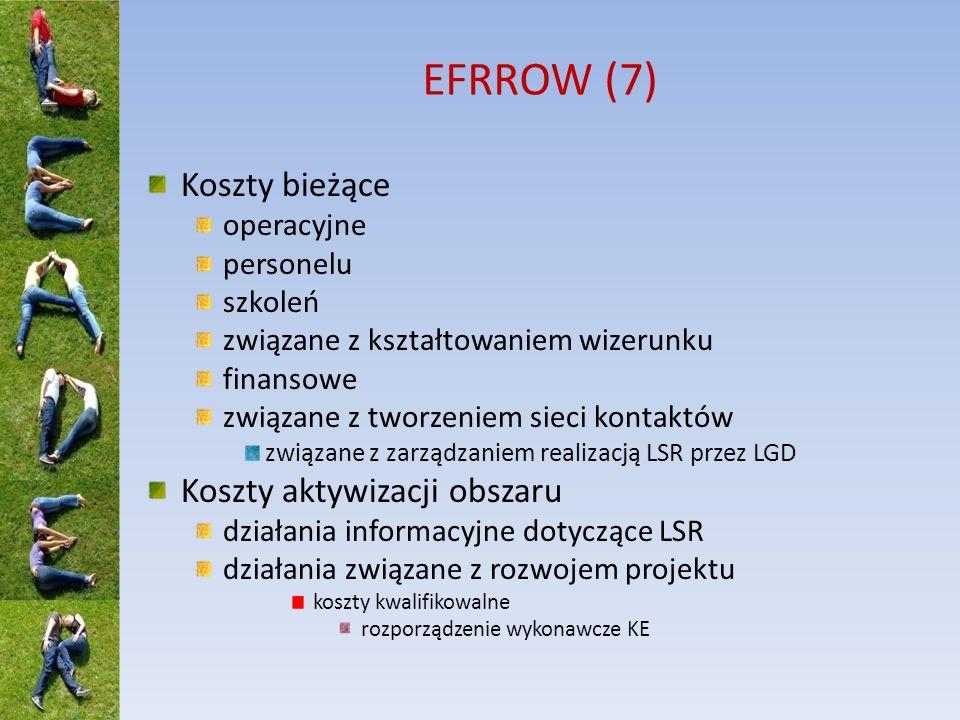 EFRROW (7) Koszty bieżące operacyjne personelu szkoleń związane z kształtowaniem wizerunku finansowe związane z tworzeniem sieci kontaktów związane z