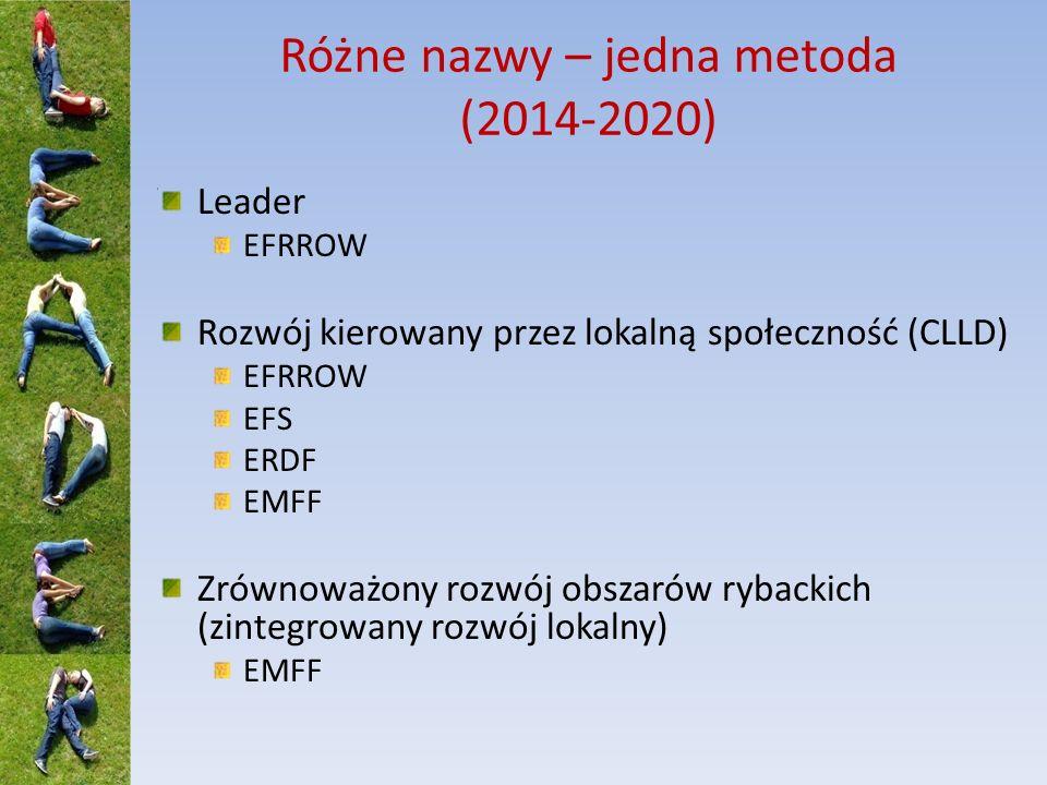Różne nazwy – jedna metoda (2014-2020) Leader EFRROW Rozwój kierowany przez lokalną społeczność (CLLD) EFRROW EFS ERDF EMFF Zrównoważony rozwój obszar