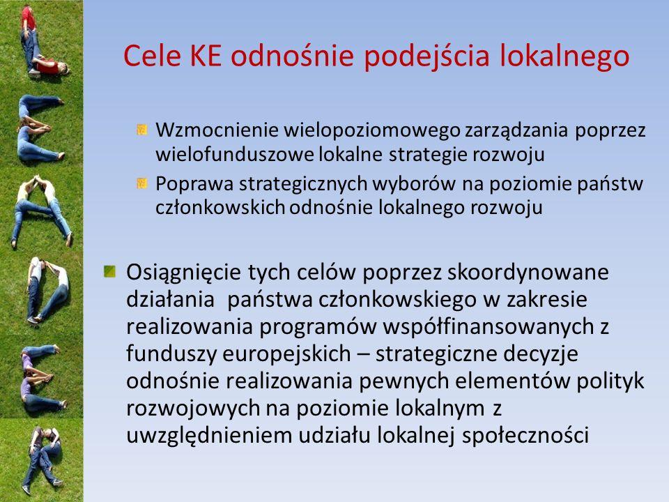 Cele KE odnośnie podejścia lokalnego Wzmocnienie wielopoziomowego zarządzania poprzez wielofunduszowe lokalne strategie rozwoju Poprawa strategicznych