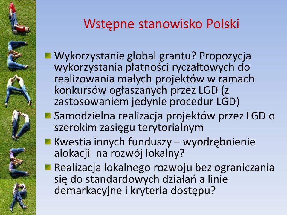 Wstępne stanowisko Polski Wykorzystanie global grantu? Propozycja wykorzystania płatności ryczałtowych do realizowania małych projektów w ramach konku