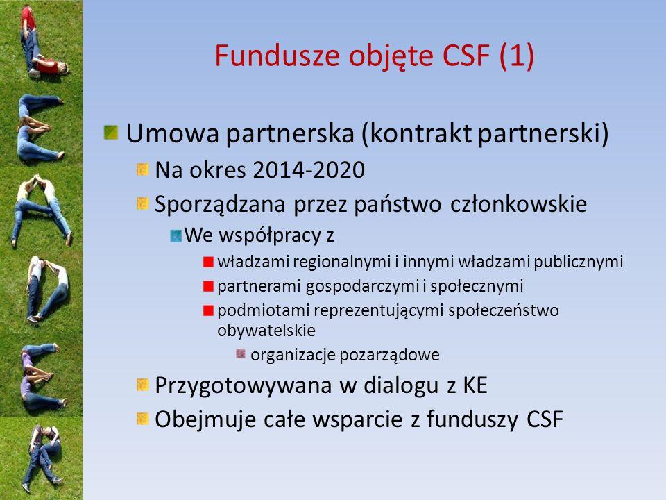 Fundusze objęte CSF (2) Umowa partnerska określa m.in.: Zintegrowane podejście do rozwoju terytorialnego wspieranego z funduszy CSF, określające: Mechanizmy na poziomie krajowym i regionalnym zapewniające koordynację między funduszami CSF oraz innymi instrumentami finansowania (UE i państwa członkowskiego Rozwiązania mające na celu zapewnienie zintegrowanego podejścia do wykorzystania funduszy CSF na CLLD