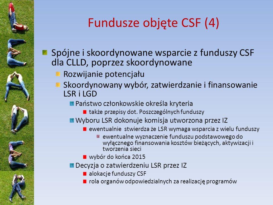 Fundusze objęte CSF (5) Elementy LSR Definicja obszaru i ludności Dodatkowe przepisy - rozporządzenie wykonawcze KE Jedna/wiele LSR na danym obszarze.