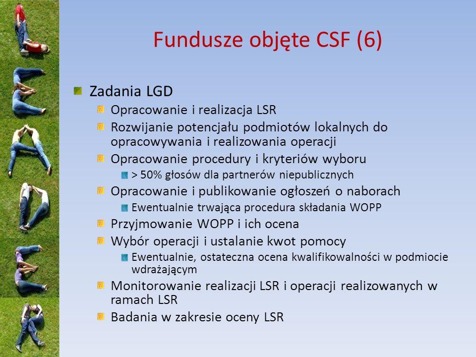 Fundusze objęte CSF (7) Wsparcie: Koszty pomocy przygotowawczej Operacje w ramach LSR Projekty współpracy przygotowanie realizacja Koszty bieżące i aktywizacja do 25% wydatków w ramach LSR