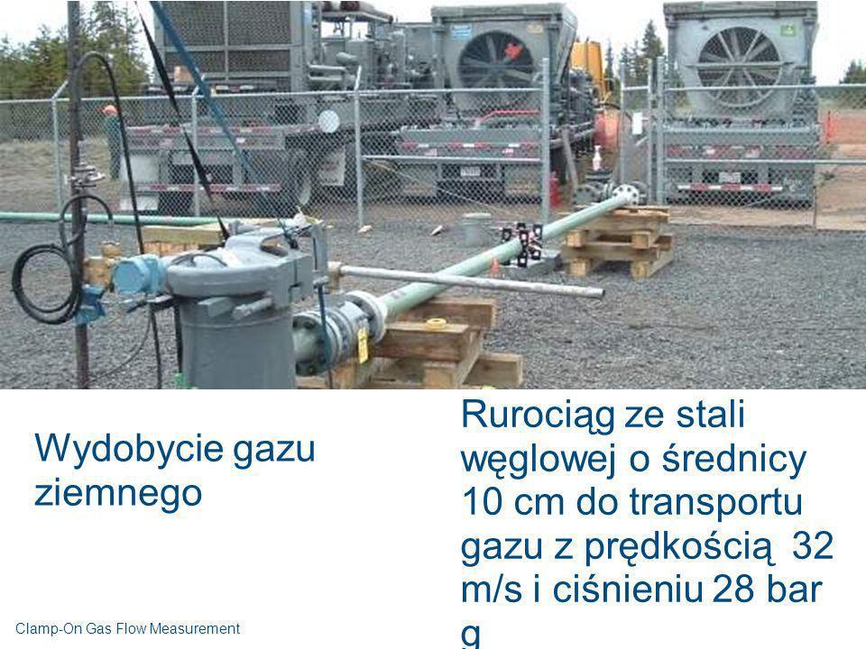 Wydobycie gazu ziemnego Rurociąg ze stali węglowej o średnicy 10 cm do transportu gazu z prędkością 32 m/s i ciśnieniu 28 bar g Clamp-On Gas Flow Meas