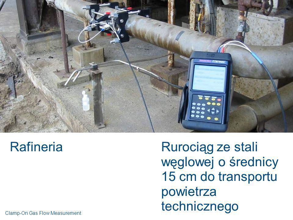 RafineriaRurociąg ze stali węglowej o średnicy 15 cm do transportu powietrza technicznego Clamp-On Gas Flow Measurement