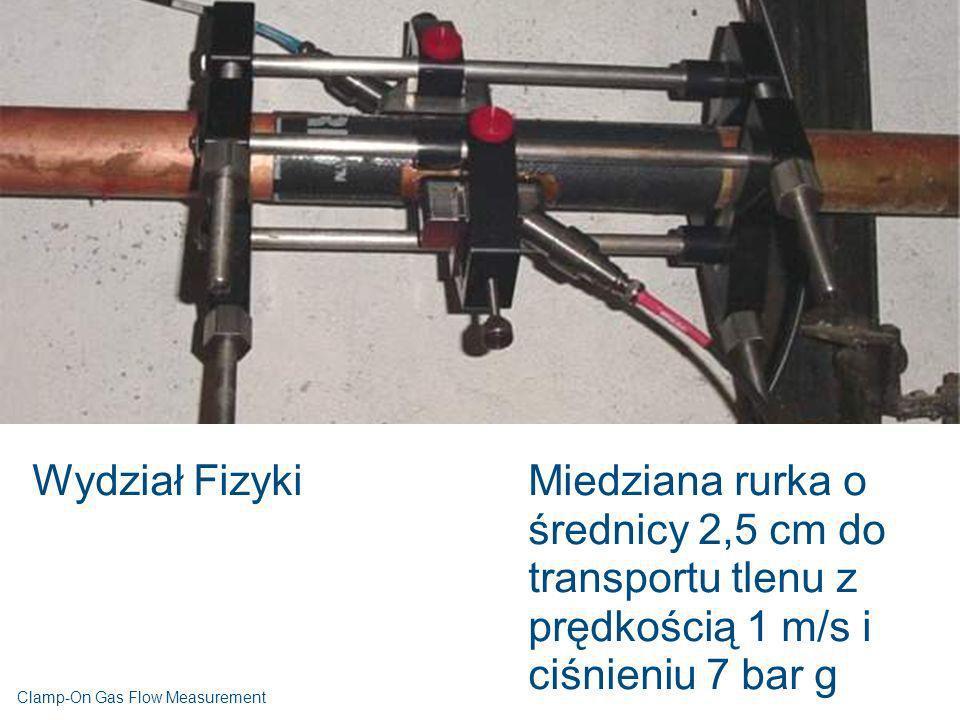 Wydział FizykiMiedziana rurka o średnicy 2,5 cm do transportu tlenu z prędkością 1 m/s i ciśnieniu 7 bar g Clamp-On Gas Flow Measurement