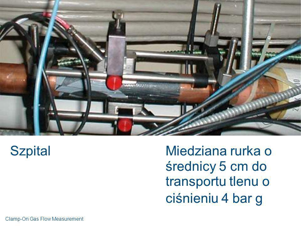 SzpitalMiedziana rurka o średnicy 5 cm do transportu tlenu o ciśnieniu 4 bar g Clamp-On Gas Flow Measurement