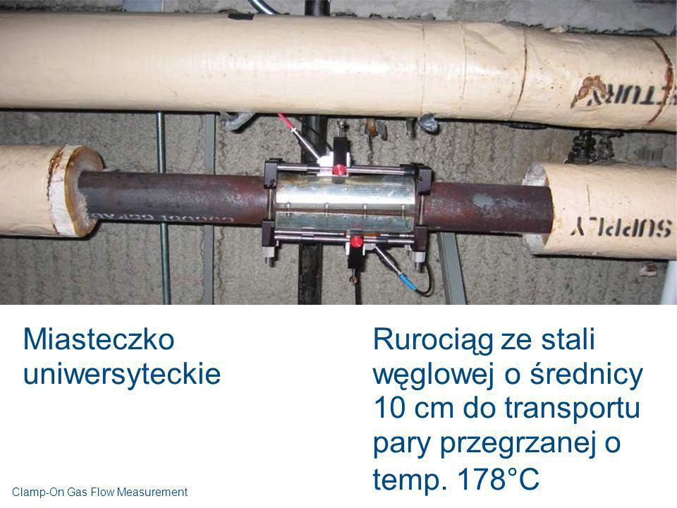 Miasteczko uniwersyteckie Rurociąg ze stali węglowej o średnicy 10 cm do transportu pary przegrzanej o temp. 178°C Clamp-On Gas Flow Measurement