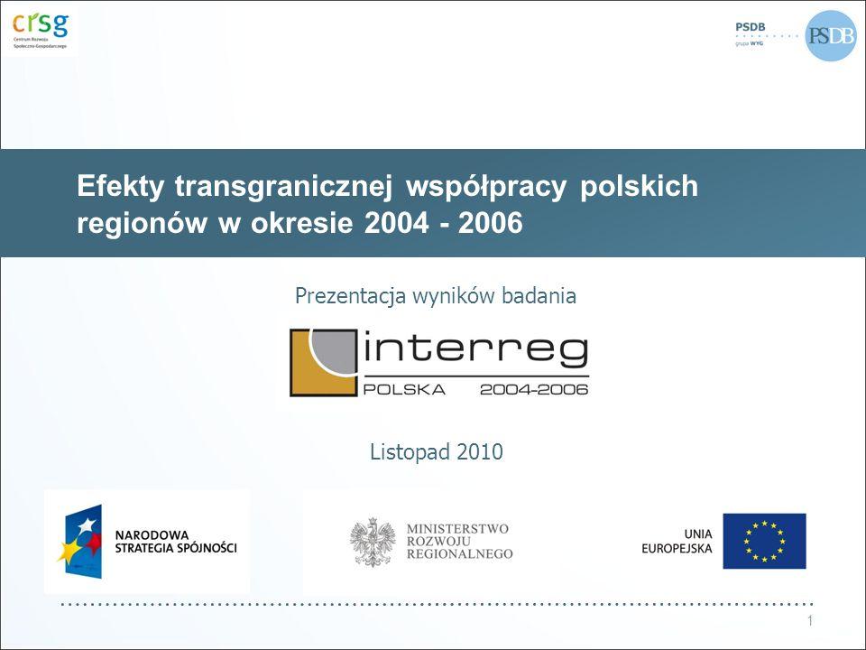 Efekty transgranicznej współpracy polskich regionów w okresie 2004 - 2006 Prezentacja wyników badania Listopad 2010 1