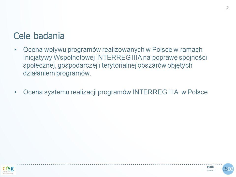 13 Źródło: opracowanie własne na podstawie danych z wniosków aplikacyjnych i sprawozdań końcowych beneficjentów projektów Interreg IIIA w Polsce.