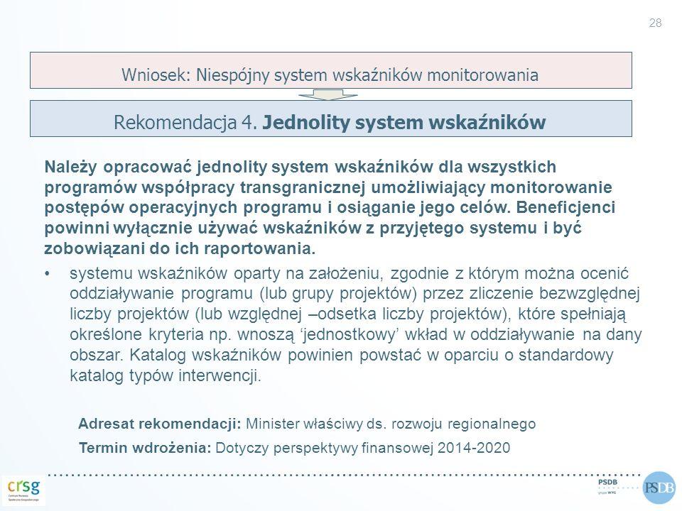 Należy opracować jednolity system wskaźników dla wszystkich programów współpracy transgranicznej umożliwiający monitorowanie postępów operacyjnych pro