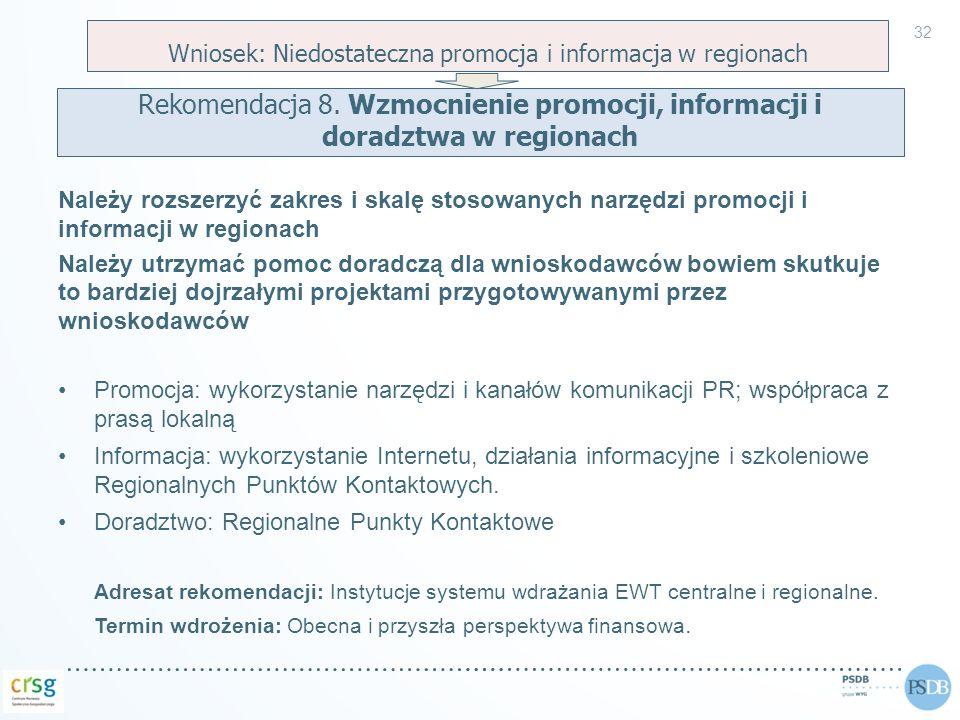 Należy rozszerzyć zakres i skalę stosowanych narzędzi promocji i informacji w regionach Należy utrzymać pomoc doradczą dla wnioskodawców bowiem skutku
