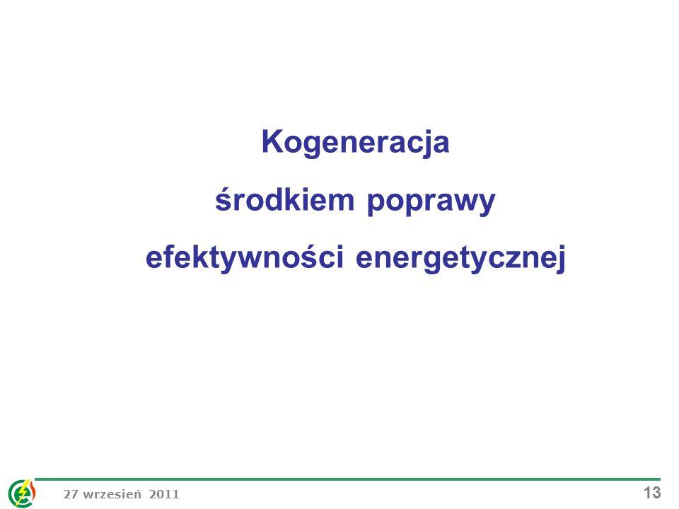 27 wrzesień 2011 13 Kogeneracja środkiem poprawy efektywności energetycznej