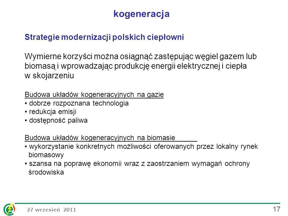 27 wrzesień 2011 17 Strategie modernizacji polskich ciepłowni Wymierne korzyści można osiągnąć zastępując węgiel gazem lub biomasą i wprowadzając prod
