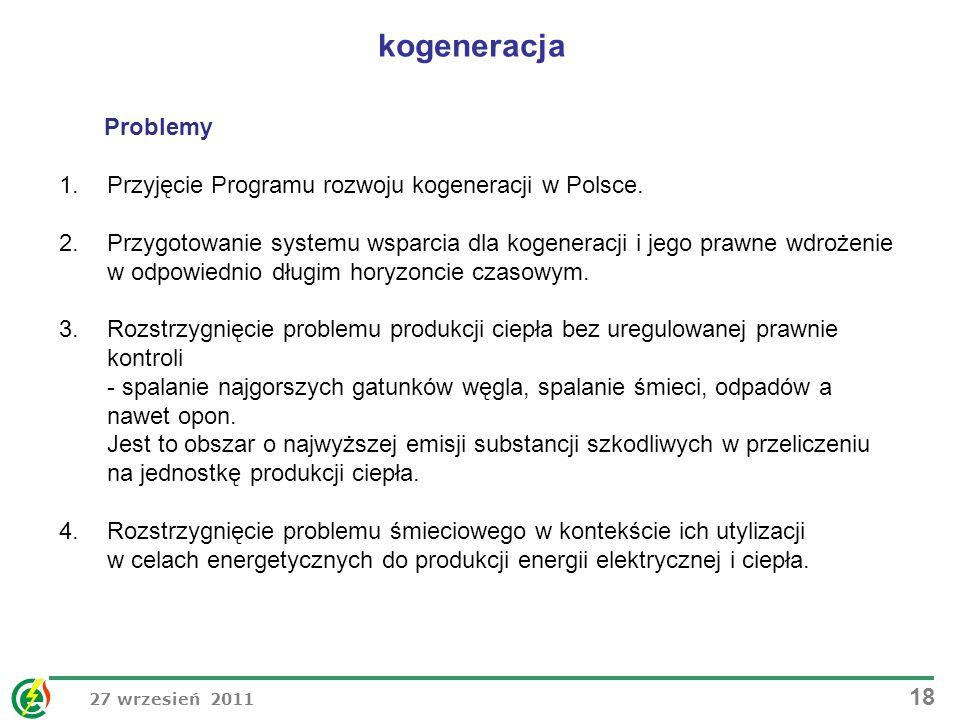 27 wrzesień 2011 18 Problemy 1.Przyjęcie Programu rozwoju kogeneracji w Polsce. 2.Przygotowanie systemu wsparcia dla kogeneracji i jego prawne wdrożen