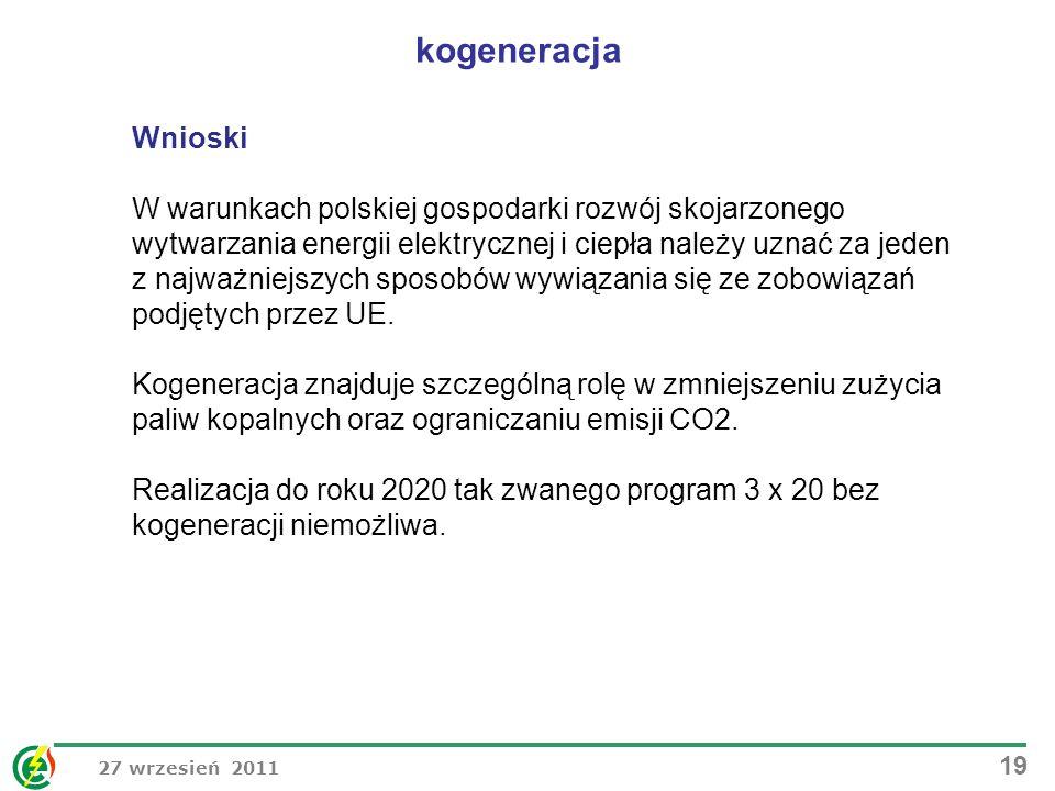 27 wrzesień 2011 19 Wnioski W warunkach polskiej gospodarki rozwój skojarzonego wytwarzania energii elektrycznej i ciepła należy uznać za jeden z najw