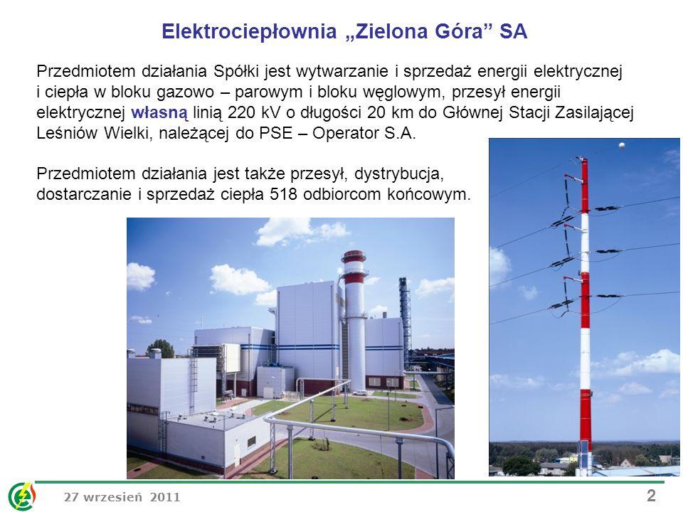 27 wrzesień 2011 2 Przedmiotem działania Spółki jest wytwarzanie i sprzedaż energii elektrycznej i ciepła w bloku gazowo – parowym i bloku węglowym, p