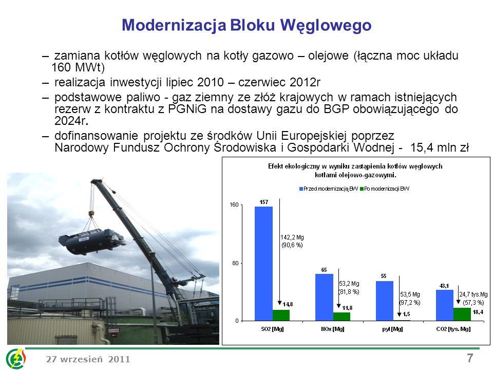 27 wrzesień 2011 7 Modernizacja Bloku Węglowego – zamiana kotłów węglowych na kotły gazowo – olejowe (łączna moc układu 160 MWt) – realizacja inwestyc