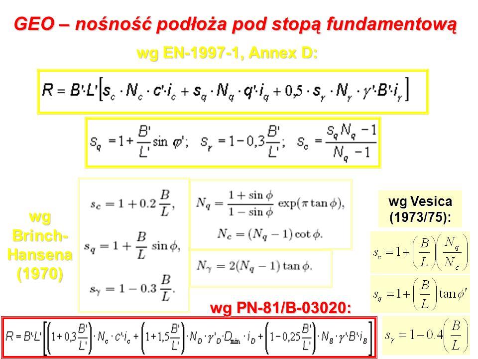 GEO – nośność podłoża pod stopą fundamentową wg EN-1997-1, Annex D: wg Brinch- Hansena (1970) wg Vesica (1973/75): wg PN-81/B-03020: