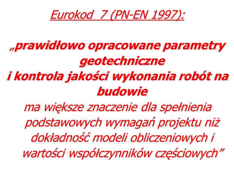 Eurokod 7 (PN-EN 1997): prawidłowo opracowane parametry geotechniczneprawidłowo opracowane parametry geotechniczne i kontrola jakości wykonania robót