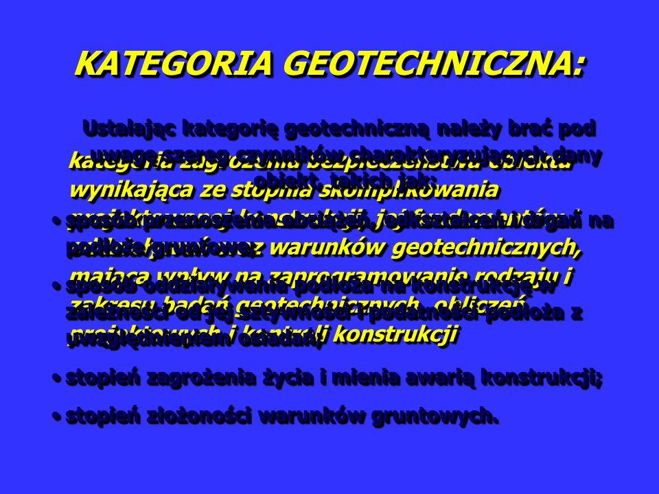 KATEGORIA GEOTECHNICZNA: kategoria zagrożenia bezpieczeństwa obiektu wynikająca ze stopnia skomplikowania projektowanej konstrukcji, jej fundamentów i