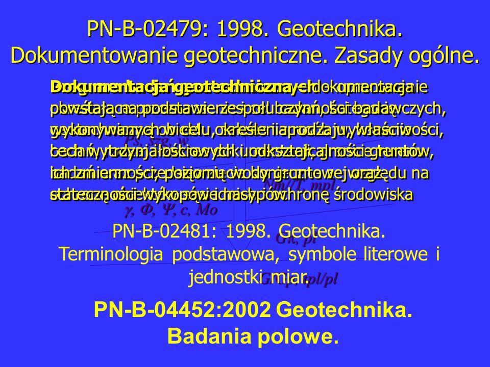 c, Mo c, Mo Ps, szg, w Nm//T, mpl G, pl G/Gp, tpl/pl PN-B-02479: 1998. Geotechnika. Dokumentowanie geotechniczne. Zasady ogólne. Program badań geotech