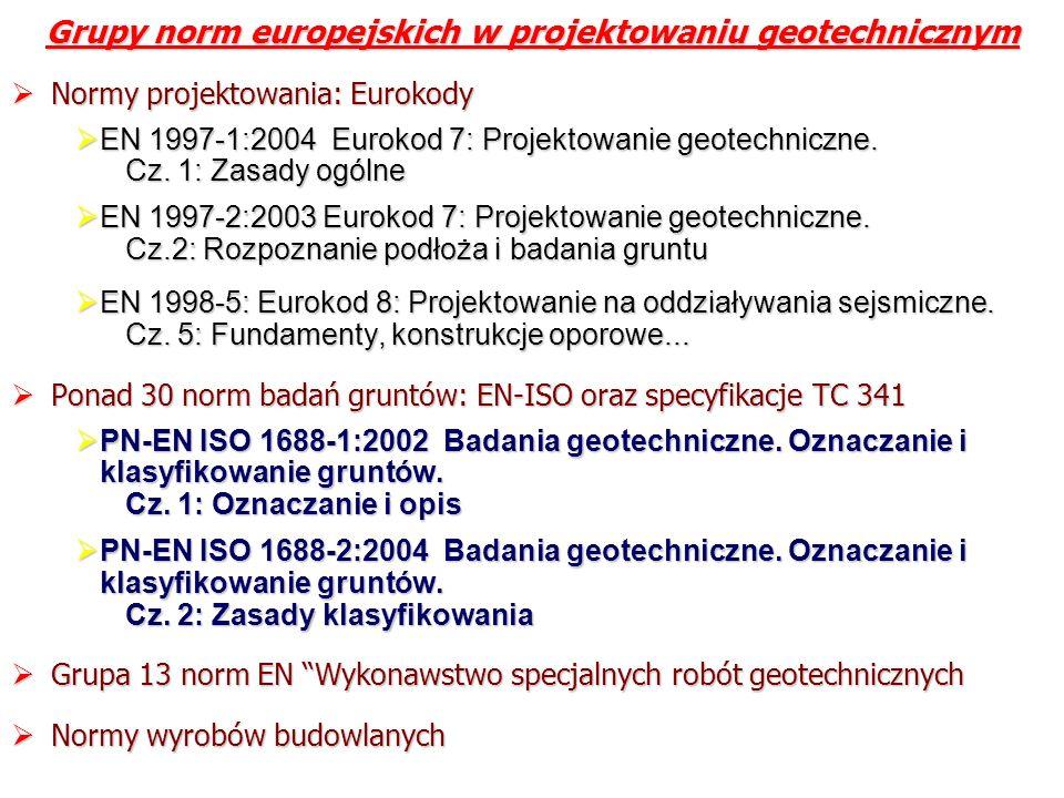 Grupy norm europejskich w projektowaniu geotechnicznym Normy projektowania: Eurokody Normy projektowania: Eurokody EN 1997-1:2004 Eurokod 7: Projektow