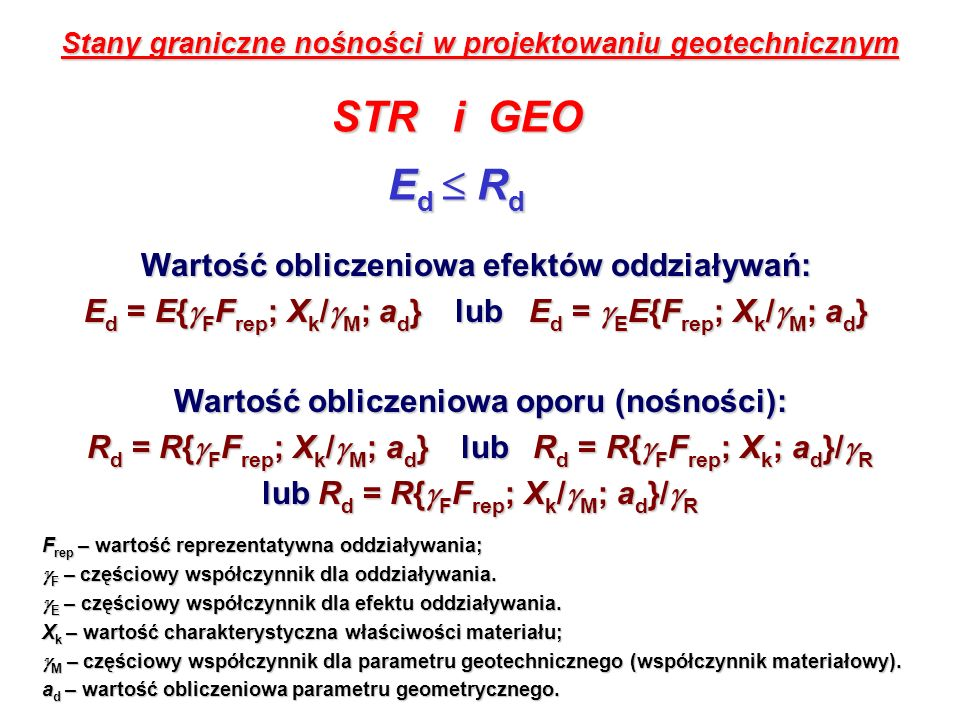 Stany graniczne nośności: STR i GEO Kombinacja: A1+M1+R2 Podejście obliczeniowe 2 (DA2) Podejście obliczeniowe 3 (DA3) Kombinacja: (A1* lub A2 )+M2+R3 * - oddziaływania konstrukcyjne (STR) - oddziaływania geotechniczne (GEO) - oddziaływania geotechniczne (GEO) DA1.1 Kombinacja 1: A1+M1+R1 DA1.2 Kombinacja 2: A2+M2+R1 Dla pali obciążonych osiowo oraz kotew gruntowych: Podejście obliczeniowe 1 (DA1) DA1.1 Kombinacja 1: A1+M1+R1 DA1.2 Kombinacja 2: A2+(M1 lub M2)+R4