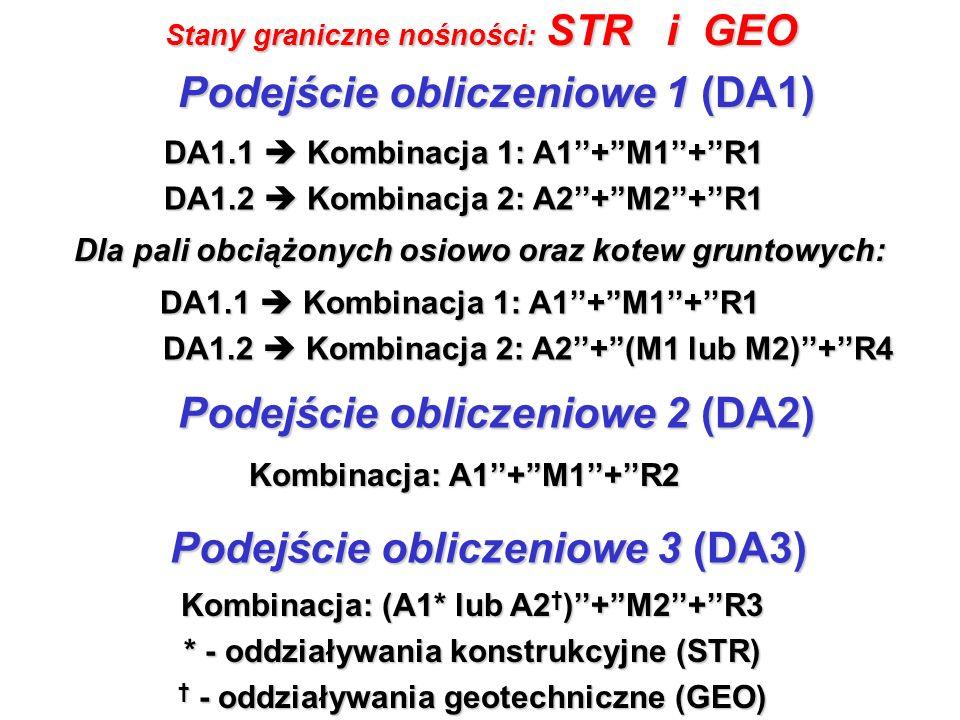 Stany graniczne nośności: STR i GEO Kombinacja: A1+M1+R2 Podejście obliczeniowe 2 (DA2) Podejście obliczeniowe 3 (DA3) Kombinacja: (A1* lub A2 )+M2+R3