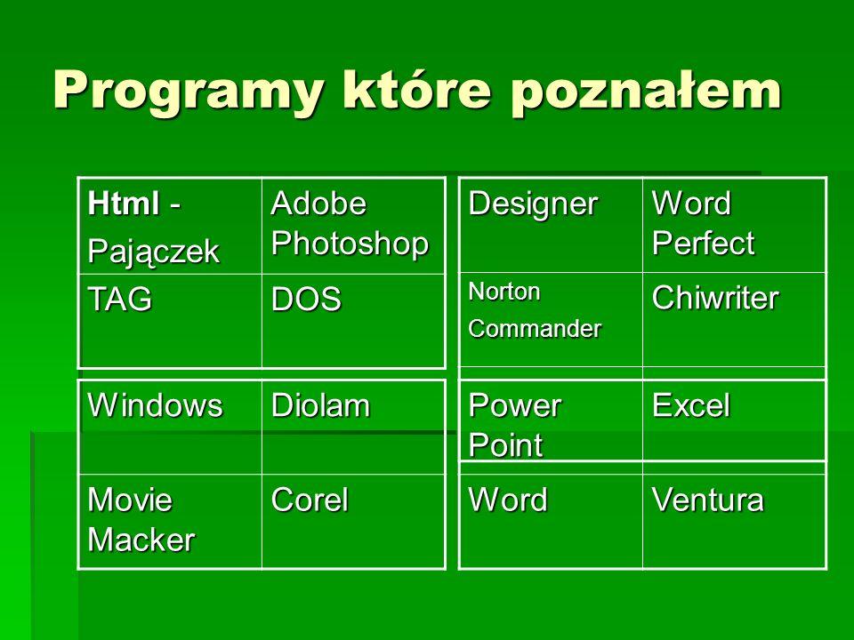 Programy które poznałem Html - Pajączek Adobe Photoshop TAGDOSDesigner Word Perfect Norton Commander Chiwriter WindowsDiolam Movie Macker Corel Power