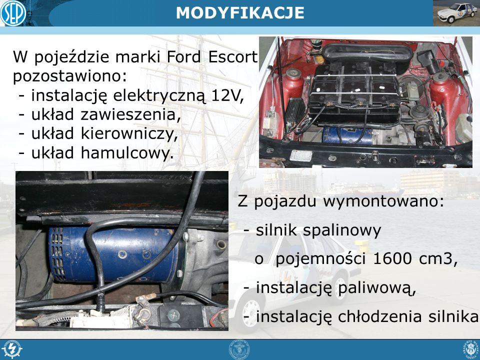 W pojeździe marki Ford Escort pozostawiono: - instalację elektryczną 12V, - układ zawieszenia, - układ kierowniczy, - układ hamulcowy. MODYFIKACJE Z p