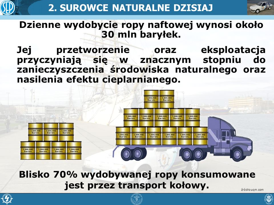 2. SUROWCE NATURALNE DZISIAJ Dzienne wydobycie ropy naftowej wynosi około 30 mln baryłek. Jej przetworzenie oraz eksploatacja przyczyniają się w znacz