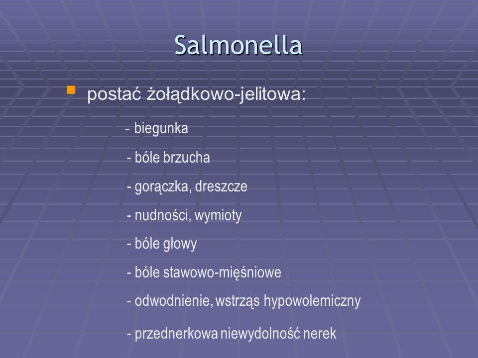 Salmonella postać żołądkowo-jelitowa: - biegunka - bóle brzucha - gorączka, dreszcze - nudności, wymioty - bóle głowy - bóle stawowo-mięśniowe - odwod