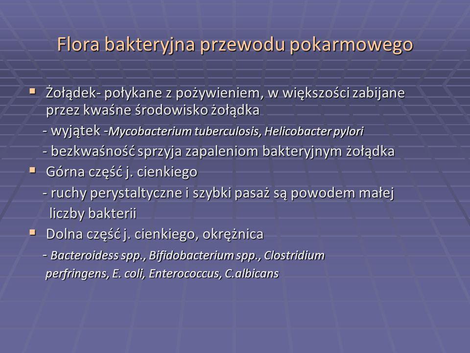 Flora bakteryjna przewodu pokarmowego Żołądek- połykane z pożywieniem, w większości zabijane przez kwaśne środowisko żołądka Żołądek- połykane z pożyw