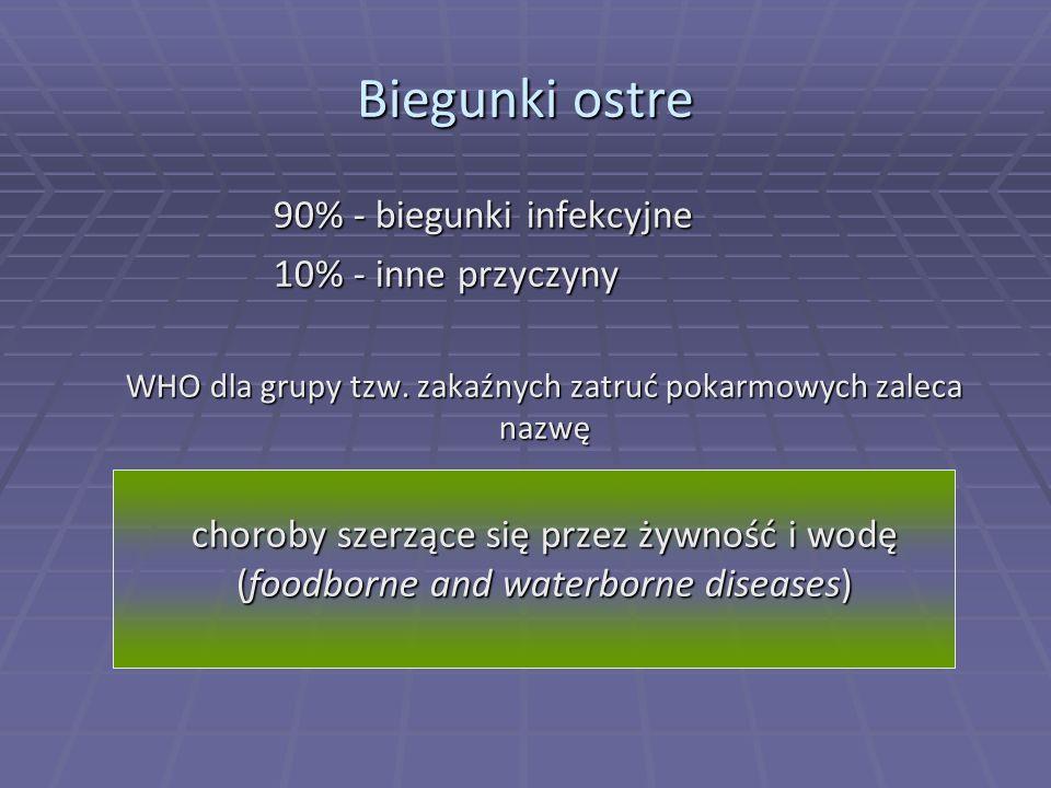 Biegunki ostre 90% - biegunki infekcyjne 90% - biegunki infekcyjne 10% - inne przyczyny WHO dla grupy tzw. zakaźnych zatruć pokarmowych zaleca nazwę c